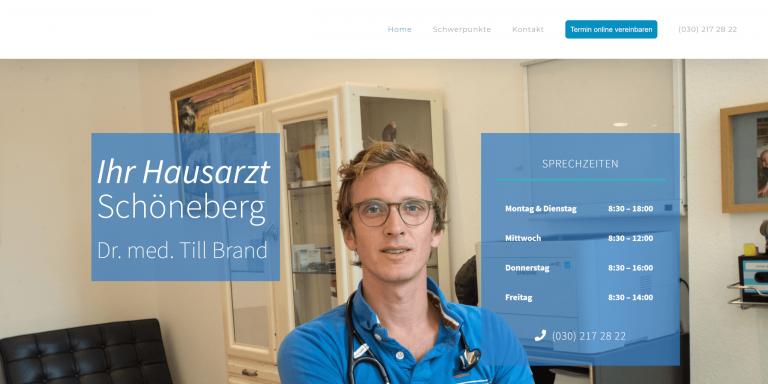 Referenzfoto der neuen Webseite der Hausarztpraxis Dr. med. Till Brand in Berlin Schöneberg