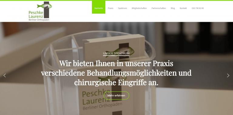 Referenzfoto der neuen Webseite der Orthopädischen Praxis Peschke Laurenz in Berlin
