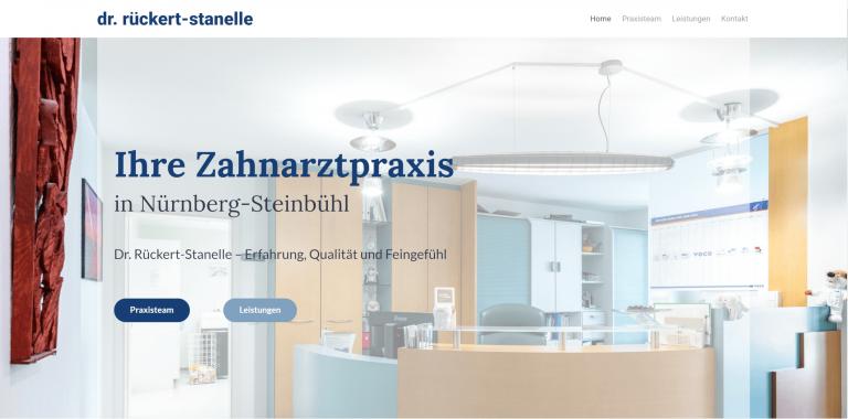 Referenzfoto der neuen Webseite der Zahnarztpraxis Dr. Rückert-Stanelle in Nürnberg Steinbühl