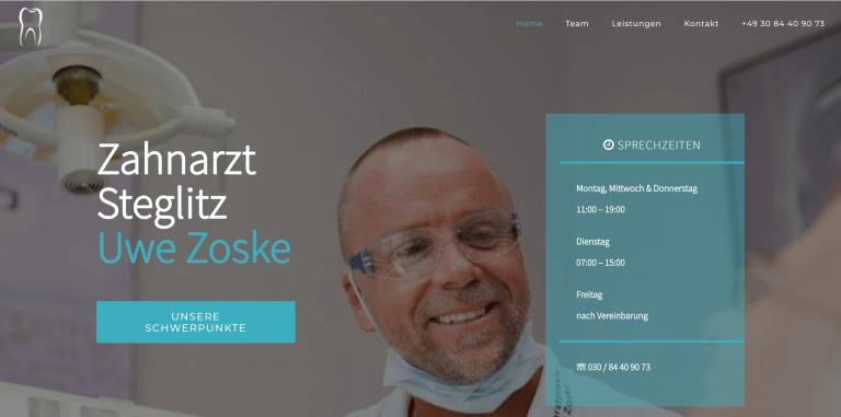 Referenzfoto der neuen Webseite der Zahnarztpraxis Berlin Steglitz